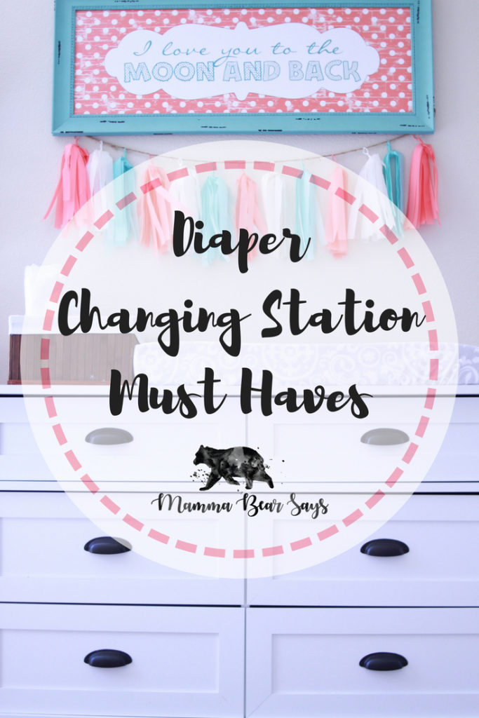 A diaper changing station is a great set up to have with babies. Check out my must haves.  diaper, diaper changes, diapering, diaper time, diaper changing