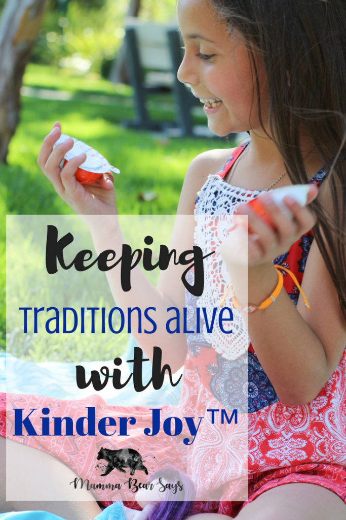#ad Kinder Joy is helping me keep traditions alive!  Kinder Joy™ is a treat like no other with two separate sealed halves – a treat side made of two creamy layers and a second half containing an exciting mystery toy! #KinderJoyMoments #family #memories #traditions #familytraditions