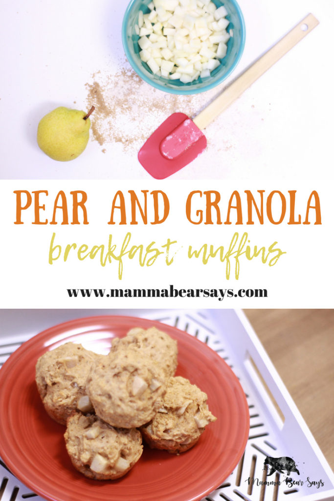These quick and easy pear and granola breakfast muffins are perfect for everyone on the go. Make them and freeze them for a later use too!
