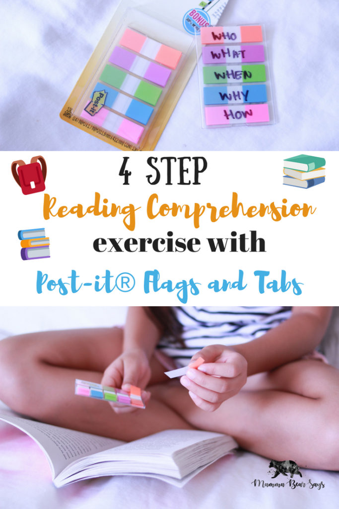 #ad This easy to use 4 step reading comprehension exercise will help your child be more engaged this school year! All you need are Post It Flags and Tabs! Reading, reading comprehension, back to school, post its, post it flags, post it tabs, post it flags and tabs, back to school shopping, homework, reading comprehension exercises, reading comprehension tools, school-aged kids, school, learning, education, third grade
