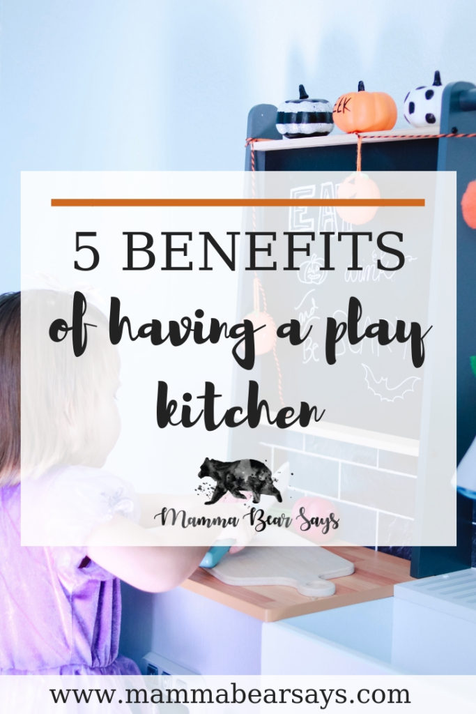 A play kitchen is more than just a toy. It is an educational tool with countless benefits. Read my top 5 benefits of having a play kitchen.  toys, play kitchen, toy kitchen, kitchen, role play, kid toys, wooden toys, wood toys, kidkraft, kidkraft toys, kidkraft things, wooden food, cutting food, child development, children