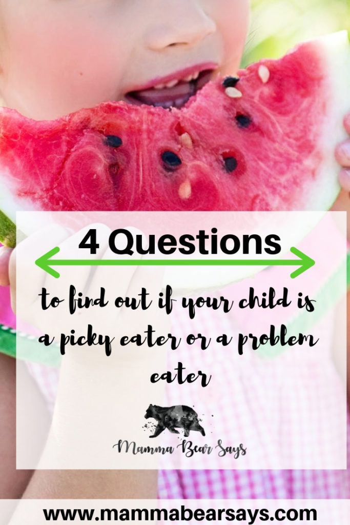 Did you know there is a difference between a picky eater and a problem eater? With these 4 questions you can learn whether your child is a problem eater. #pickyeating #kidsnutrition #kidsfood #foodforkids #pickyeater #slp #problemeater #food #nutrition
