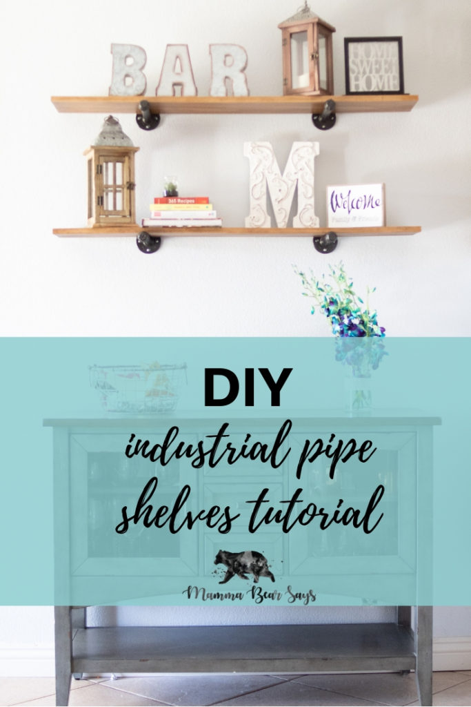 DIY Industrial Pipe Shelving Tutorial for the perfect #modernfarmhouse look #diy #crafts #farmhousedecor #farmhousedecoration #decor #homedecor #diyprojects #diy #homeprojects