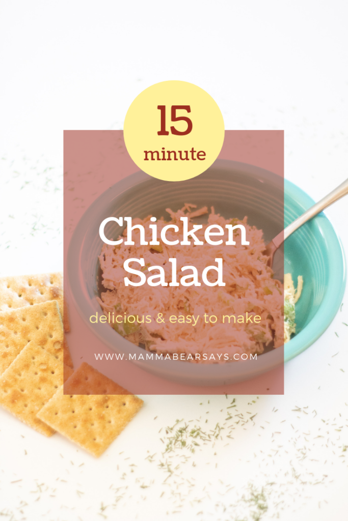 This 15 minute chicken salad is bound to be a huge hit with your whole family. Top it off with some buffalo sauce and you have added a delicious twist! #chickensalad #lunchrecipe #lunchtime #lunch #chicken #shreddedchicken #familyrecipe #easyrecipes #easymeals #mealprep #healthyeats #healthyfood #healthymeals #health #chicken