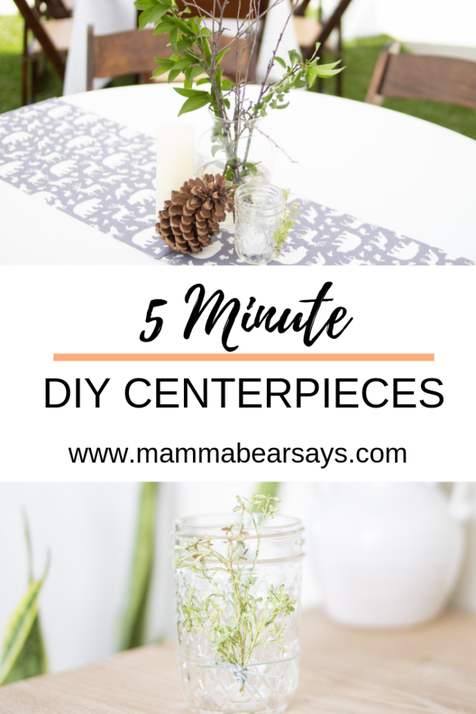 5 minute DIY centerpieces you can recreate and use for your parties or top with a tea light for mood lighting #diy #centerpieces #diydecor #decorations #partydecor #modernfarmhouse #quickcrafts #crafting #crafts #woodlandbabyshower #woodlandparty #centerpiece