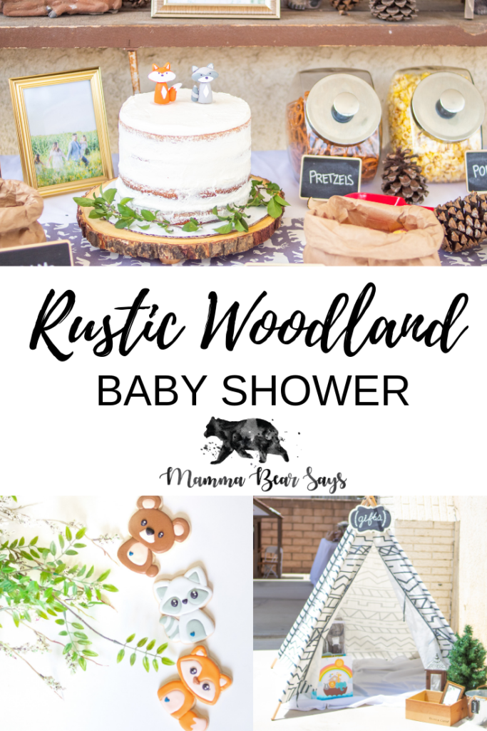 Rustic Woodland Baby Shower . Baby shower decorations perfect for your baby shower. #DIY #babyshower #woodlandbabyshower #rustic #rusticbabyshower #woodlandanimals #woodland #woodlandboy #boywoodlandbabyshower #mammabearsays #babyshower #babyshowertheme #baby #pregnancy