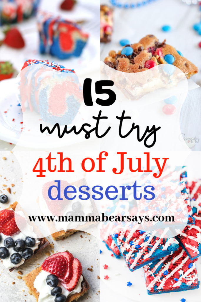 The 4th of July Celebrations are around the corner. These patriotic desserts are bound to complete any 4th of July party or BBQ! #4thofjuly #independenceday #bbq #party #4thofjulybbq #4thofjulyparty #4thofjulycelebration #4thofjulyday #4thofjulyfood #4thofjulydesserts #desserts #dessert #cake #parfait #blondie #brownie #sweet #bundtcake #pudding #cake #cookies