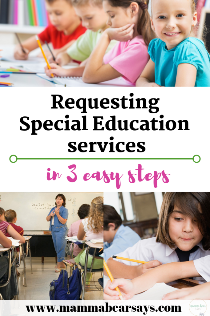 Requesting special education services can seem scary.With these 3 easy steps I was able to request my child to be assessed and you can too! #specialeducation #specialed #adhd #autism #speechdelay #ot #occupationaltherapy #speechtherapy #speechimpairment #speechandlanguage #speechdevelopment #specialedservices #assessments