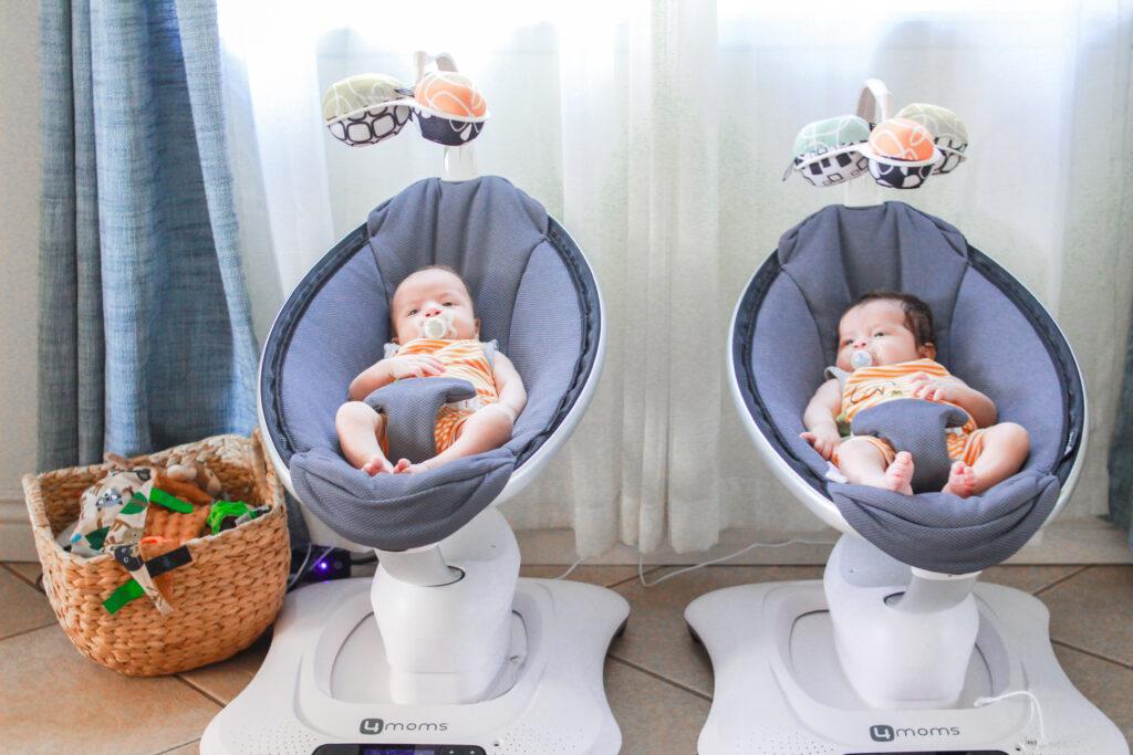 Babies in Mamaroo Swing