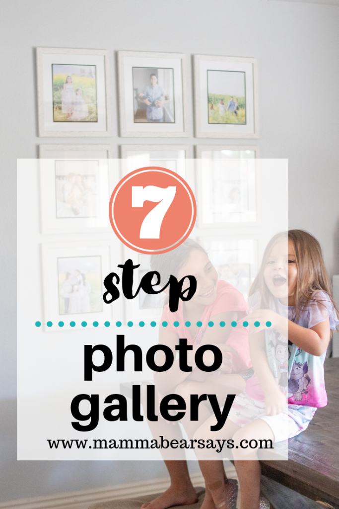 A photo gallery is a way to tell your story. With these 7 easy steps I was able to create a beautiful gallery of our own and you can too #photowall #photogallery #photgraphy #photos #familyphotos #newbornphotos #homedecor #homedecorations #modernfarmhouse #farmhousedecor #farm #pictureframes