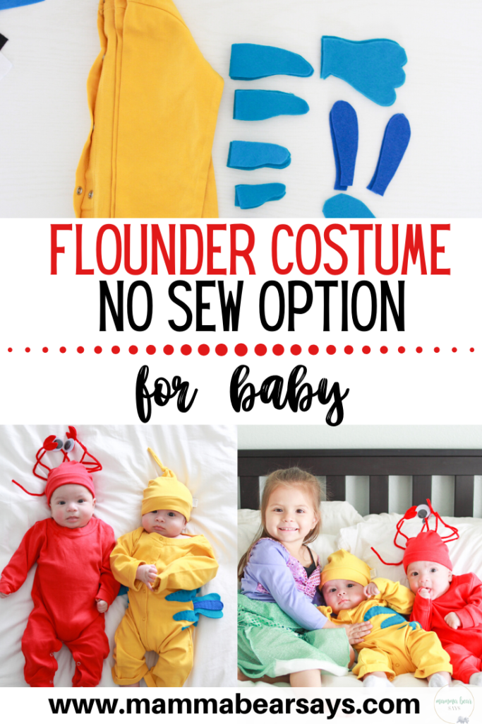 This Flounder costume for baby is perfect for Halloween, birthday party, or Disney trip. It is both comfortable and super easy to make with a no sew option. #disney #disneystyle #disneyhalloween #disneytrips #disneyday #disneyoutfit #thelittlemermaid #sebastian #costumes #diy #disneydiy #diycostume #diykids #nosew #underthesea #princessariel