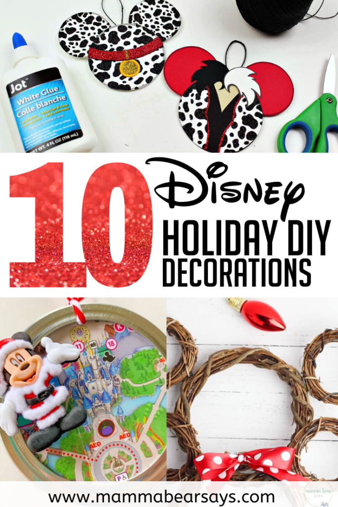 Easy and beautiful DIY Holiday Decorations for the Disney loving person! #diy #disney #disneydecorations #disneyholidays #disneyholidaydecorations #disneyholidayhome #disneyhome #disneychristmastree #disneychristmas #disneycrafts #disneydiy #diychristmas #diycrafts #diychristmasdecor #crafitng #crafts