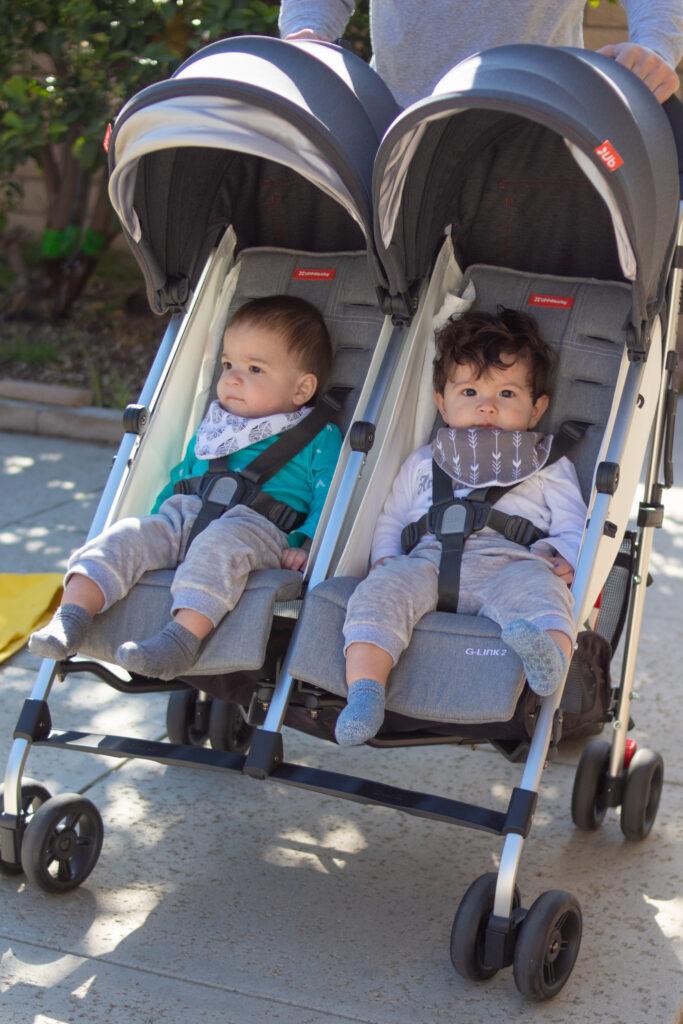 twin babies in stroller