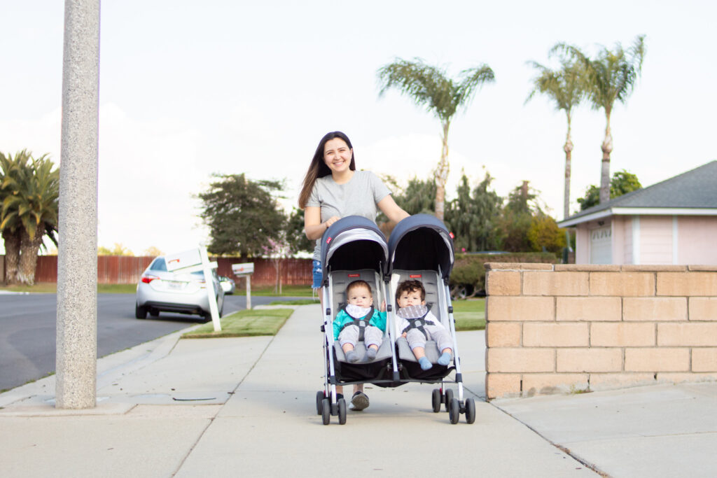 mom with double stroller