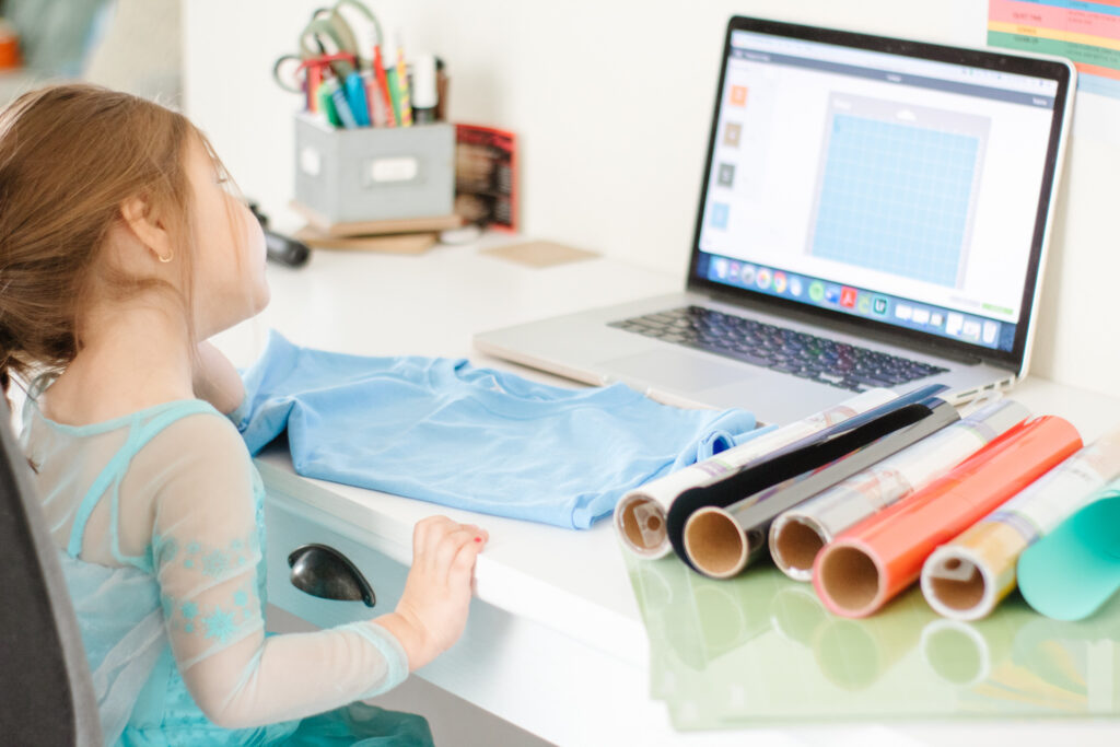 girl making DIY Disney Frozen 2 Shirt