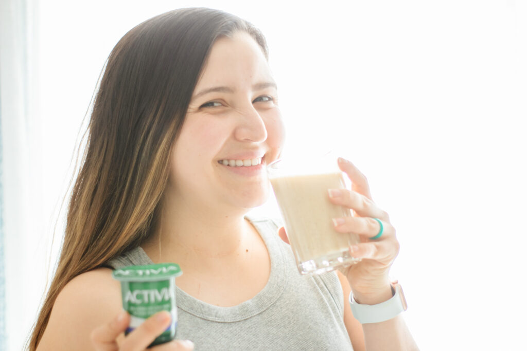 Drinking smoothie