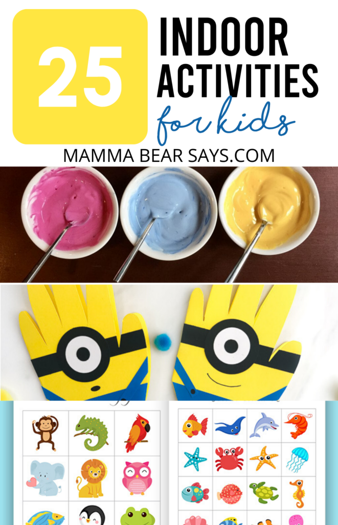 Not sure how to entertain your kids? Here are 25 indoor activities for kids you can try! #indooractivities #activitiesforkids #kids #kidcrafts #craftsforkids #gamesforkids