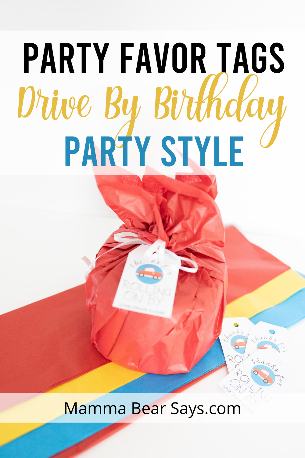 drive by birthday party favor tags