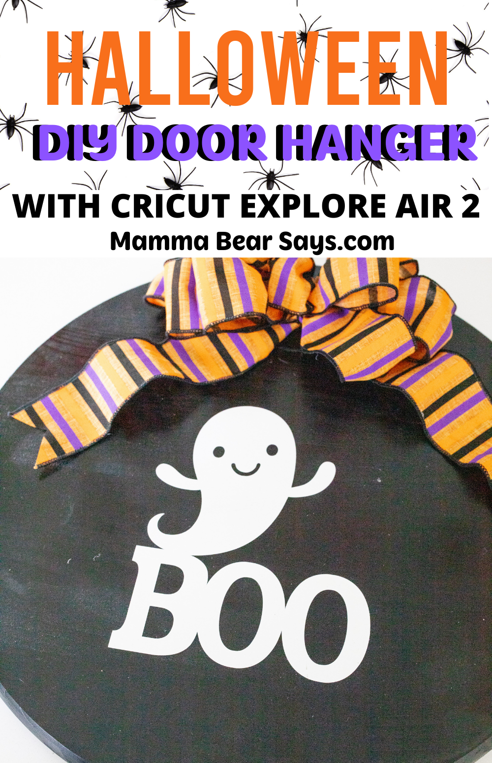 This Halloween Door Hanger Tutorial is so easy to follow! You can make a beautiful front door piece in a few simple steps! I always wanted to theme my front door and now I can bring the Halloween to my porch! With the help of my Cricut Explore Air 2 I can make this and so much more! #Halloween #HalloweenDecorations #Halloweentime #halloween2020 #diyhalloween #halloweendiy #diydecor #diydecorations #diy #diycraft #cricutmade #cricutcreated #cricutcraft