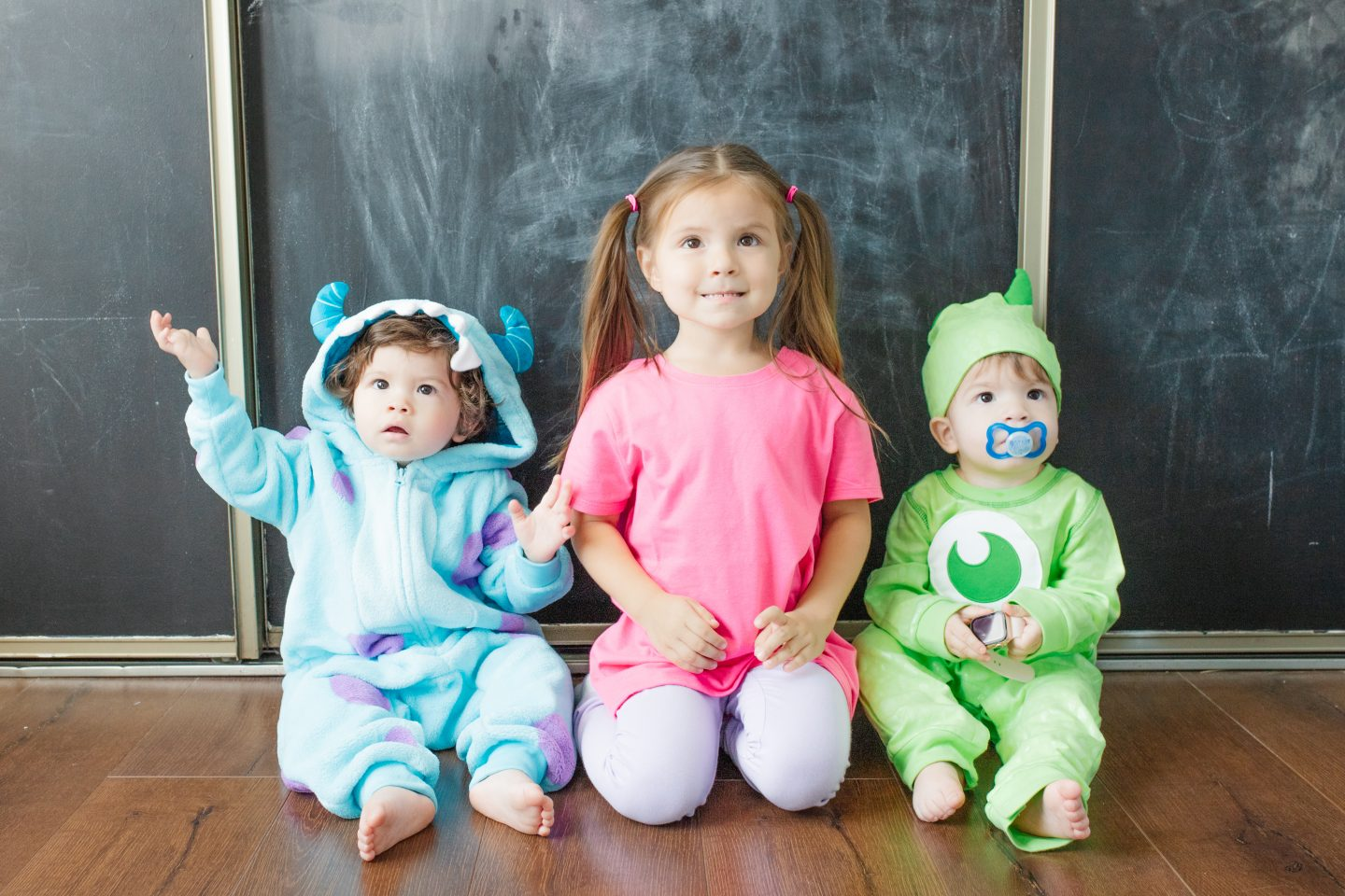 monsters in family costumes