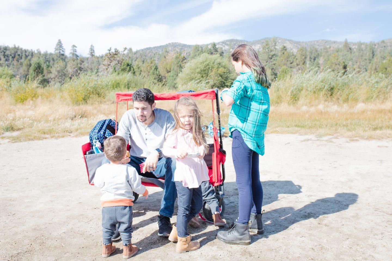 city of big bear lake with family