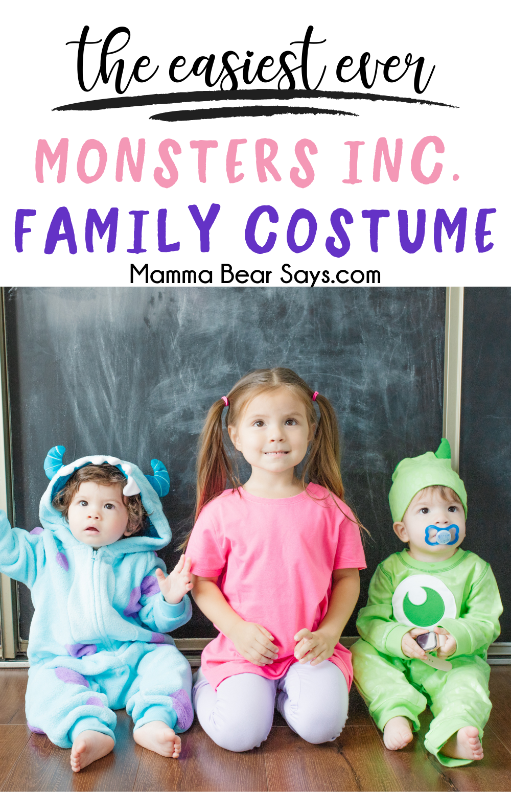 This Monsters INC family costume is so easy to put together and so adorable! My favorite thing is you can use the items again and again!I This is the perfect costume for the Disney loving family like mine! #monstersinc #diycostume #costume #halloween #halloweentime #halloweencostume #halloween2020 #diycostume #diycostumes #diy #disneycostume #disneydiy #diydisneycostume #mikeandsulley #sulley #monstersuniversity #pixar